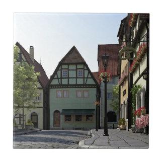 Bavarian Town Street Corner Scene Tile