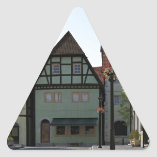 Bavarian Town Street Corner Scene Triangle Sticker