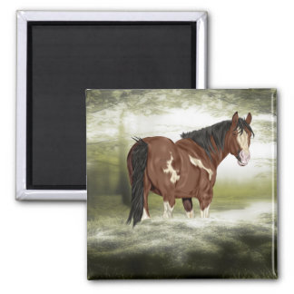 Bay and White Splash Overo Paint Horse Magnet