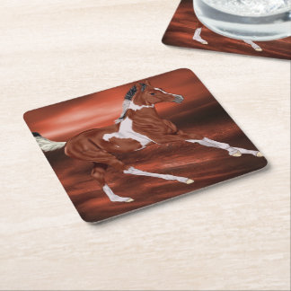 Bay and White Tobiano Paint Horse Foal Square Paper Coaster