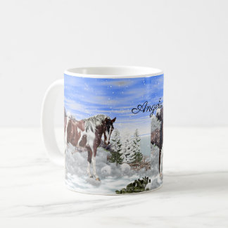 Bay and White Tobiano Paint Horse in Snow Coffee Mug