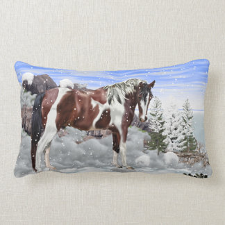 Bay and White Tobiano Paint Horse in Snow Lumbar Cushion