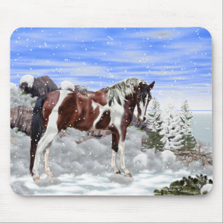 Bay and White Tobiano Paint Horse in Snow Mouse Pad