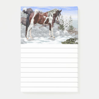 Bay and White Tobiano Paint Horse in Snow Post-it Notes