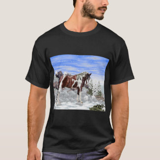 Bay and White Tobiano Paint Horse in Snow T-Shirt