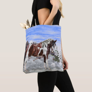 Bay and White Tobiano Paint Horse in Snow Tote Bag