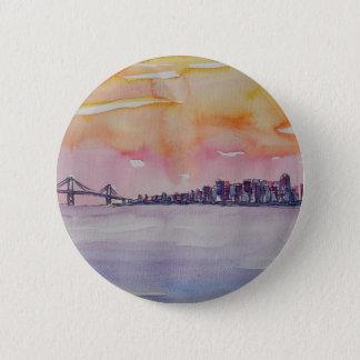 Bay Area Skyline San Francisco With Oakland Bridge 6 Cm Round Badge