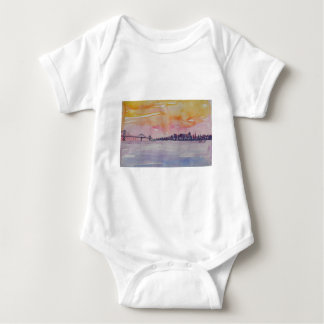 Bay Area Skyline San Francisco With Oakland Bridge Baby Bodysuit