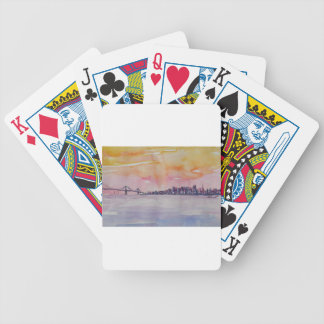 Bay Area Skyline San Francisco With Oakland Bridge Bicycle Playing Cards