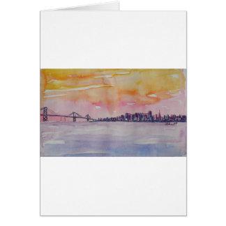Bay Area Skyline San Francisco With Oakland Bridge Card