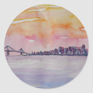 Bay Area Skyline San Francisco With Oakland Bridge Classic Round Sticker