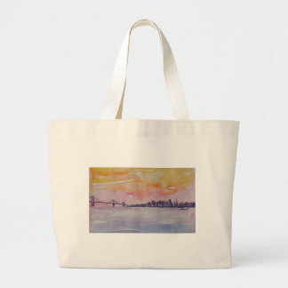 Bay Area Skyline San Francisco With Oakland Bridge Large Tote Bag