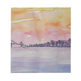 Bay Area Skyline San Francisco With Oakland Bridge Notepad