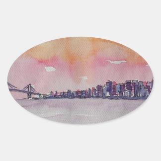 Bay Area Skyline San Francisco With Oakland Bridge Oval Sticker