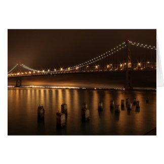 Bay Bridge at Night Greeting Cards