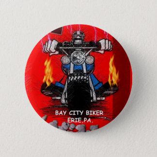 BAY CITY BIKER    (BUTTONS) 6 CM ROUND BADGE