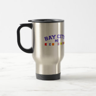 Bay City, MI - Nautical Spelling Stainless Steel Travel Mug
