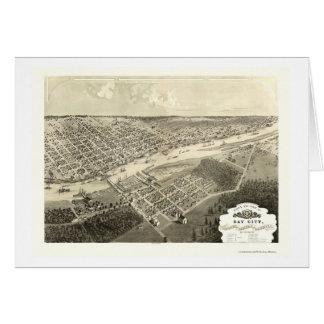 Bay City, MI Panoramic Map - 1867 Greeting Card