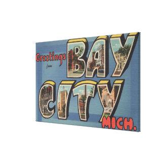Bay City, Michigan - Large Letter Scenes 2 Canvas Print