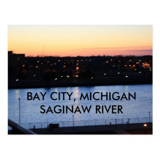 BAY CITY, MICHIGAN SAGINAW RIVER POST CARD