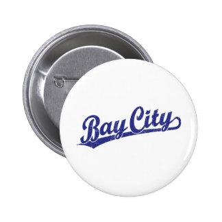 Bay City script logo in blue Pinback Buttons