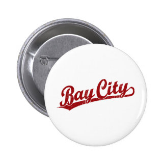 Bay City script logo in red Pinback Buttons