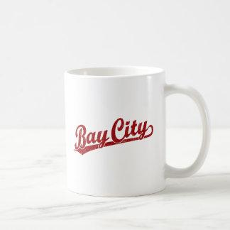 Bay City script logo in red Coffee Mugs