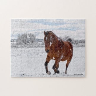 Bay Colored Horse Galloping in the Snow Puzzle