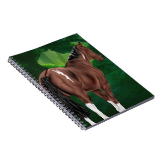 Bay Dun Tobiano Paint Horse in Thicket Spiral Notebook