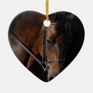 Bay Horse on Black Ceramic Ornament