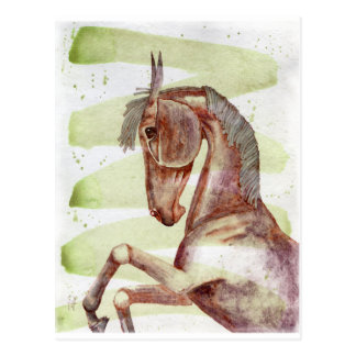 Bay Horse On Serpentine Green Watercolor Wash Post Card