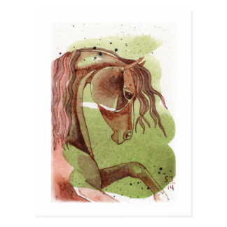 Bay Horse On Serpentine Green Watercolor Wash Postcard