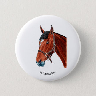 Bay horse with star wearing leather headcollar 6 cm round badge