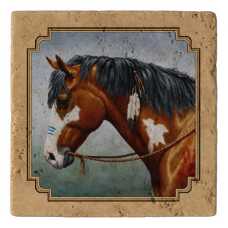 Bay Indian Pony Pinto Horse Tan Trivet