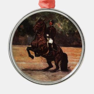 Bay Lipizzaner Levade Metal Ornament