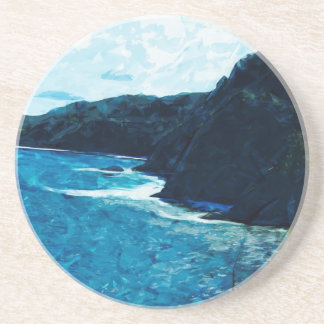 Bay On The Road To Hana Maui Abstract Coaster