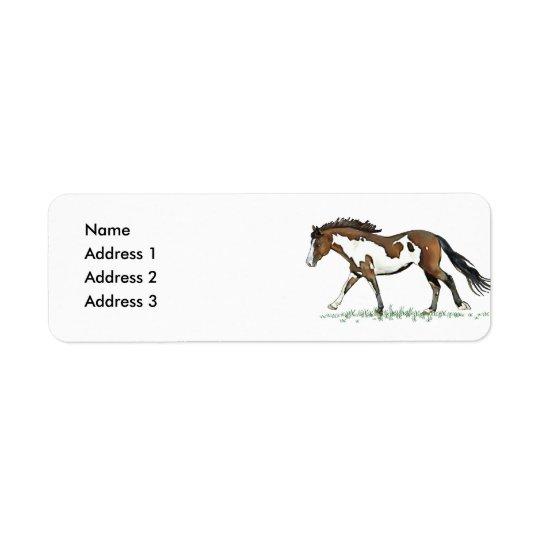 Bay Paint Horse Cantering, Address 2, Address 3... Return Address Label