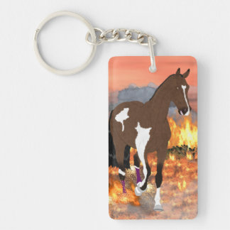 Bay Paint Horse Trotting Through Fire Single-Sided Rectangular Acrylic Key Ring