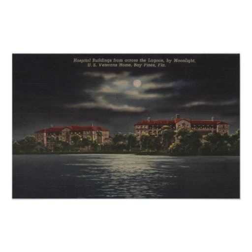 Bay Pines, Florida - Moonlit View of Hospital Posters