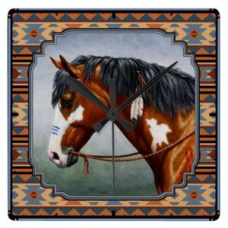 Bay Pinto War Horse Southwestern Design Square Wall Clock