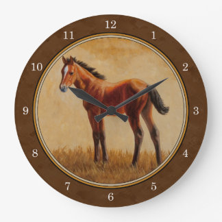 Bay Quarter Horse Foal Large Clock