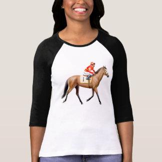 Bay Race Horse Ladies Raglan Jersey T-Shirt