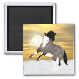 Bay Roan Overo Pinto Mustang Horse Square Magnet