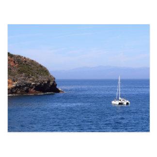 Bay Sailboat Post Card