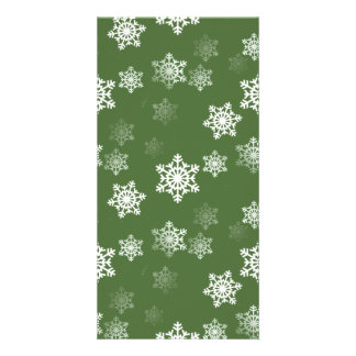 Bayberry Green and White Snow Flake Flurries Picture Card