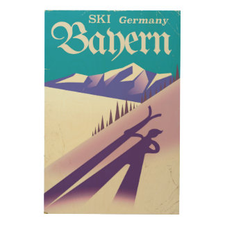 Bayern Germany vintage Ski vacation poster Wood Prints