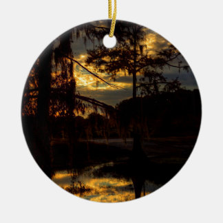 Bayou Sunset Reflection Ceramic Ornament