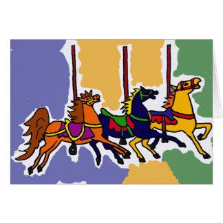 BB- Artistic Carousel Horses Folk Art Card