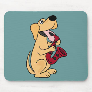 BB- Puppy Dog Playing Saxophone Cartoon Mouse Pad
