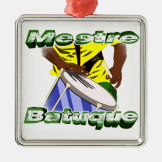 BBaC Shirt Mestre Batuc Samba Batucada Brasil Silver-Colored Square Decoration